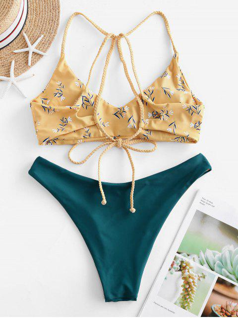 ZAFUL Bikini Reversible con Cordones con Estampado de Flor - Mostaza S Mobile
