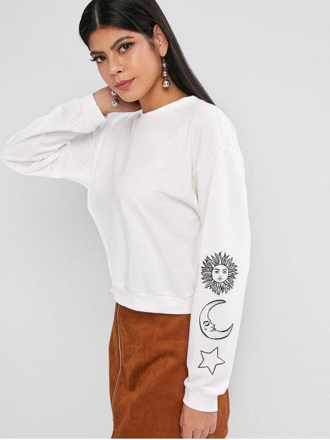 ZAFUL البلوز نجم الشمس والقمر الجرافيك البلوز - أبيض S Mobile
