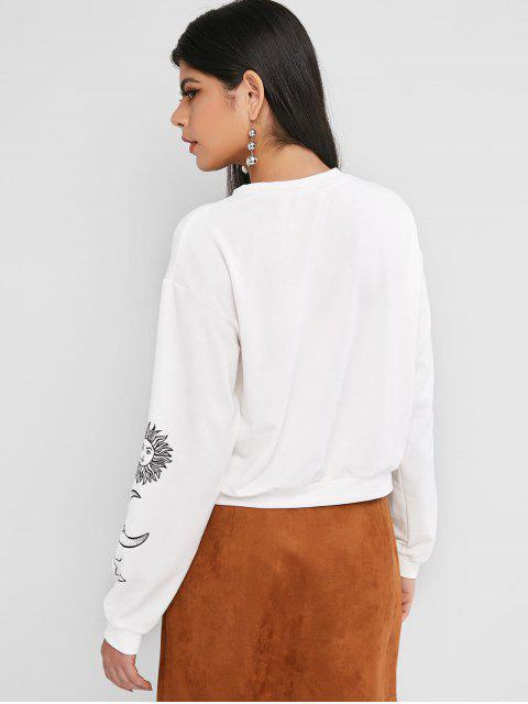 ZAFUL Sweat-shirtPull-over Graphique Lune Soleil et Etoile - Blanc S Mobile
