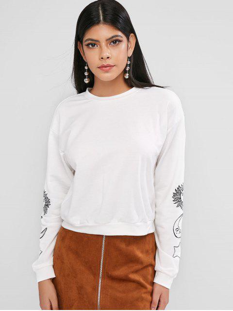 women ZAFUL Pullover Star Sun And Moon Graphic Sweatshirt - WHITE S Mobile