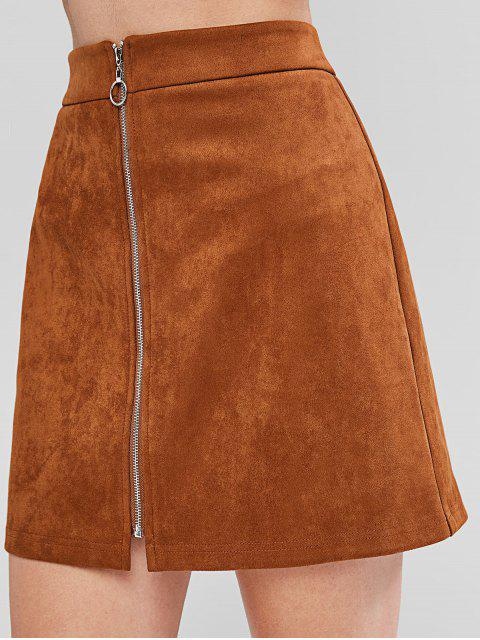 online ZAFUL Zip Front Faux Suede Flare Skirt - BROWN S Mobile