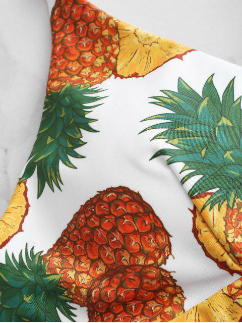 fancy ZAFUL Braided Crisscross Lace-up Pineapple Bikini Top - WHITE L Mobile