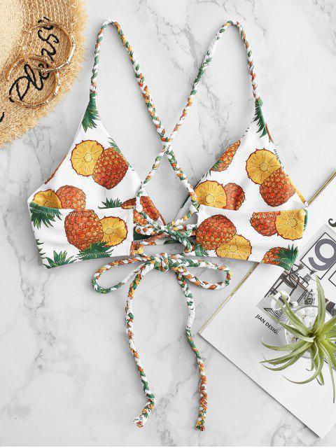 latest ZAFUL Braided Crisscross Lace-up Pineapple Bikini Top - WHITE M Mobile