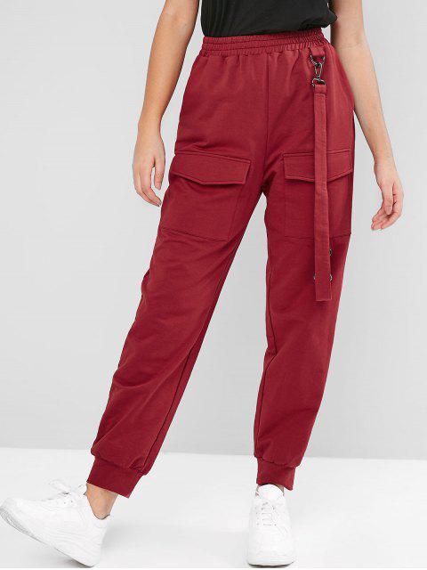 best ZAFUL High Waisted Straps Flap Pockets Jogger Pants - FIREBRICK XL Mobile