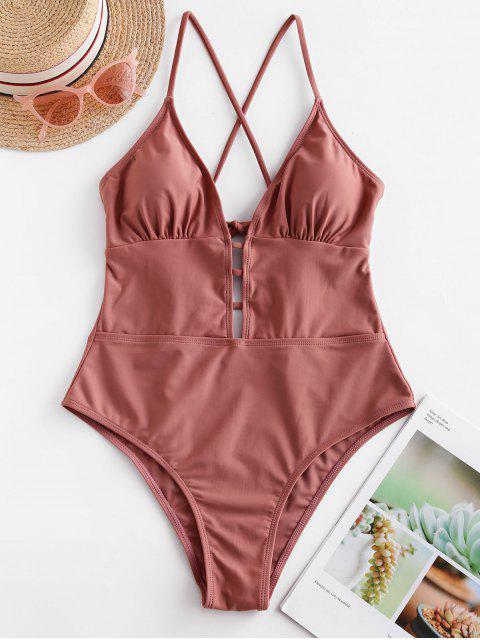 shops ZAFUL Lattice Criss Cross Backless One-piece Swimsuit - LIPSTICK PINK XL Mobile
