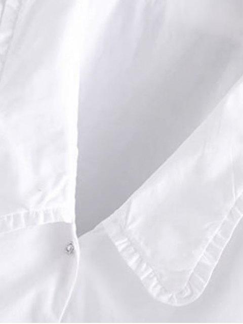 パフスリーブラインストーンのボタンアップブラウス - 白 S Mobile