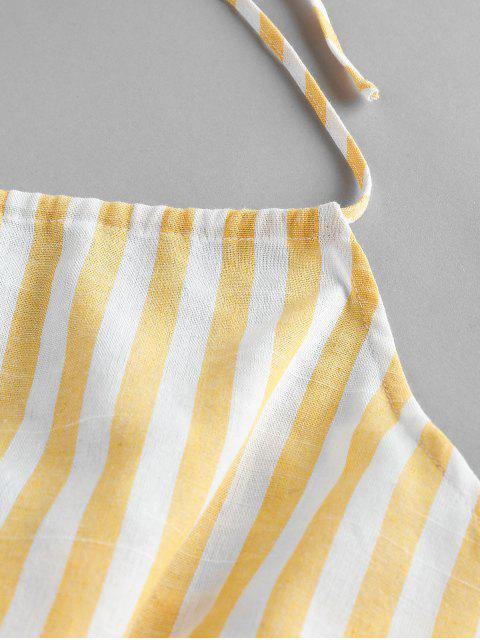 outfits ZAFUL Striped Halter Wide Leg Romper - MULTI-A L Mobile