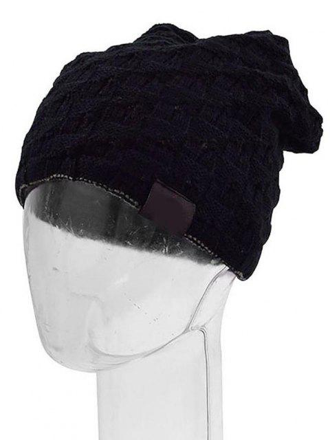 ladies Solid Color Design Knitted Beanie - BLACK  Mobile