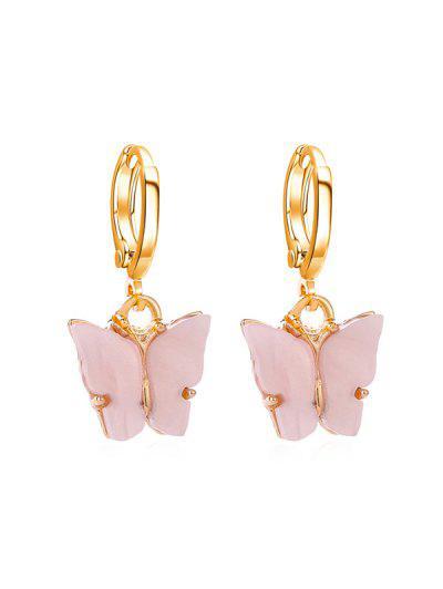 Butterfly Small Hoop Drop Earrings - Pig Pink
