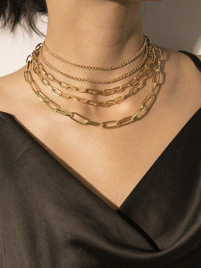 Brief Link Chain Multilayered Necklace - Gold