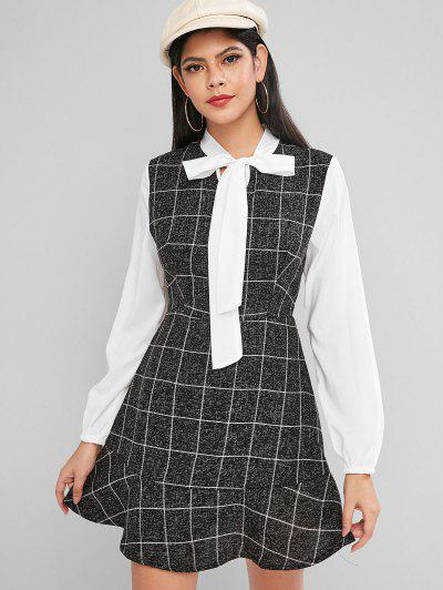 Bow Tie Plaid Flounce Lantern Sleeve Dress - Black Xl