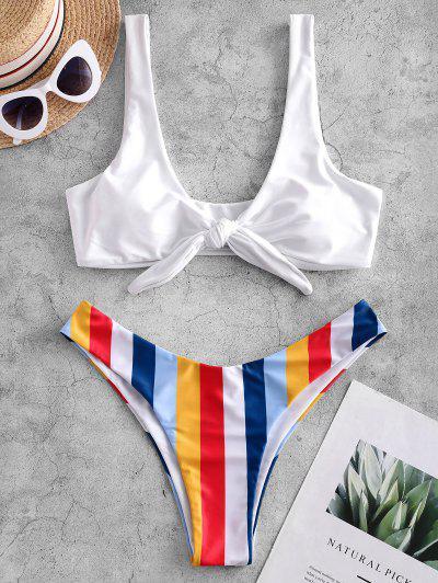 ZAFUL Striped Knotted High Cut Bikini Swimsuit - White S