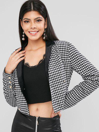 ZAFUL Gingham Buttoned Crop Blazer - Black L