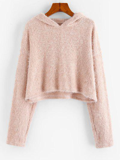 Fluffy Hooded Cropped Sweater - Rose Xl