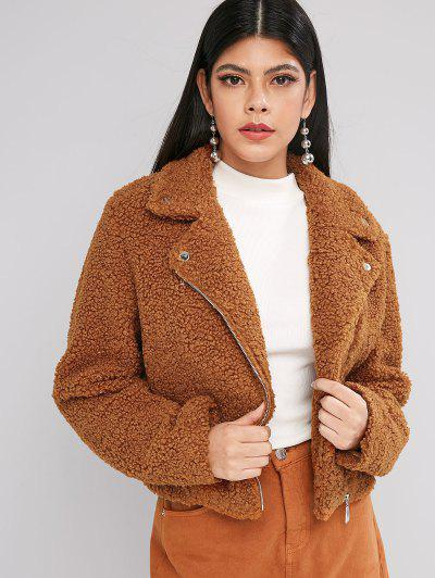 ZAFUL Solid Zip Front Snap Button Teddy Jacket - Tiger Orange S