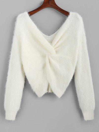 ZAFUL Twisted Plunging Fuzzy Sweater - White L