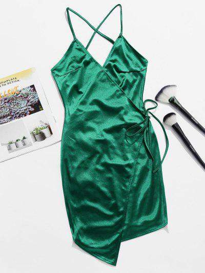 Backless Lace Up Satin Cami Dress - Deep Green L