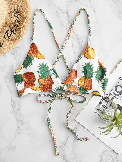 ZAFUL Braided Crisscross Lace-up Pineapple Bikini Top - White M