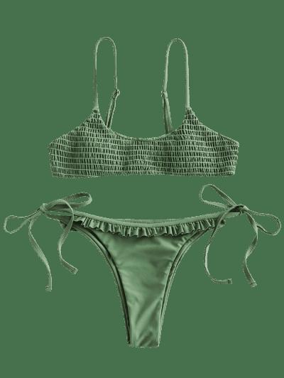 ZAFUL Frilled Smocked Tie Bikini Swimsuit