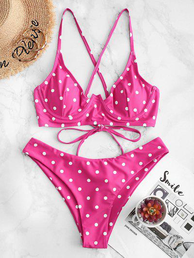 ZAFUL Polka Dot Crisscross Underwire Bikini Swimsuit - Rose Red M