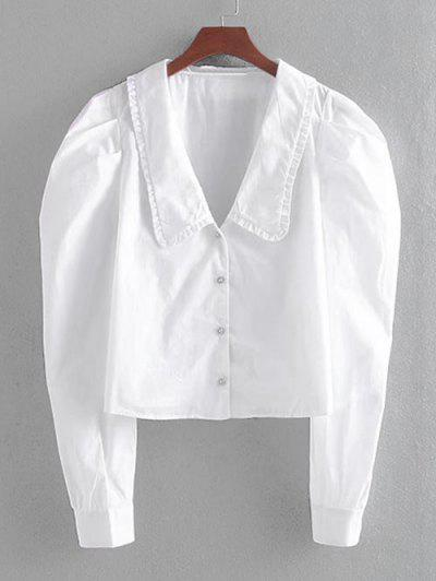 Puff Sleeve Rhinestone Button Up Blouse - White Xs