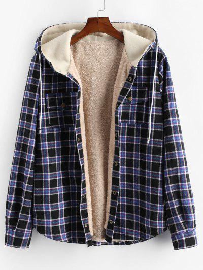 Plaid Chest Pocket Fleece Drawstring Hooded Jacket - Black M