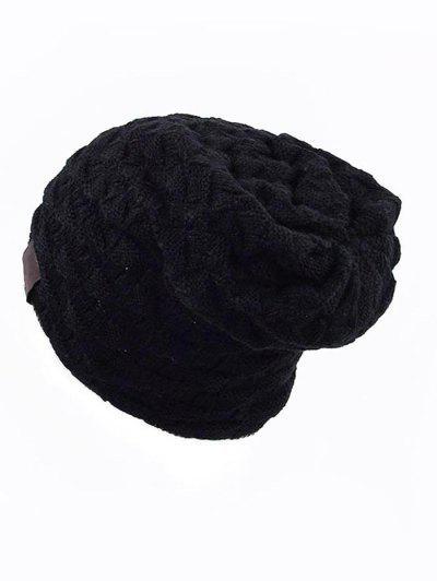 Diseño Color Sólido De Punto Beanie - Negro