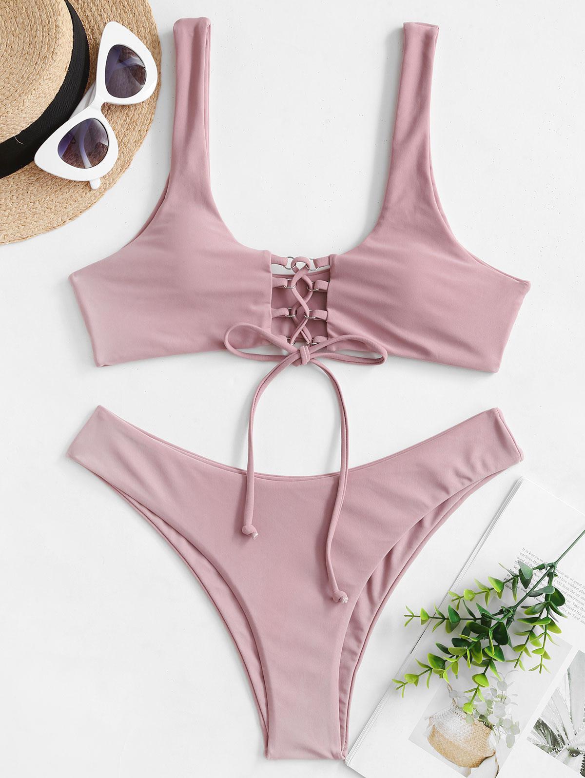 ZAFUL Lace Up Scoop Neck Padded Bikini Swimwear фото