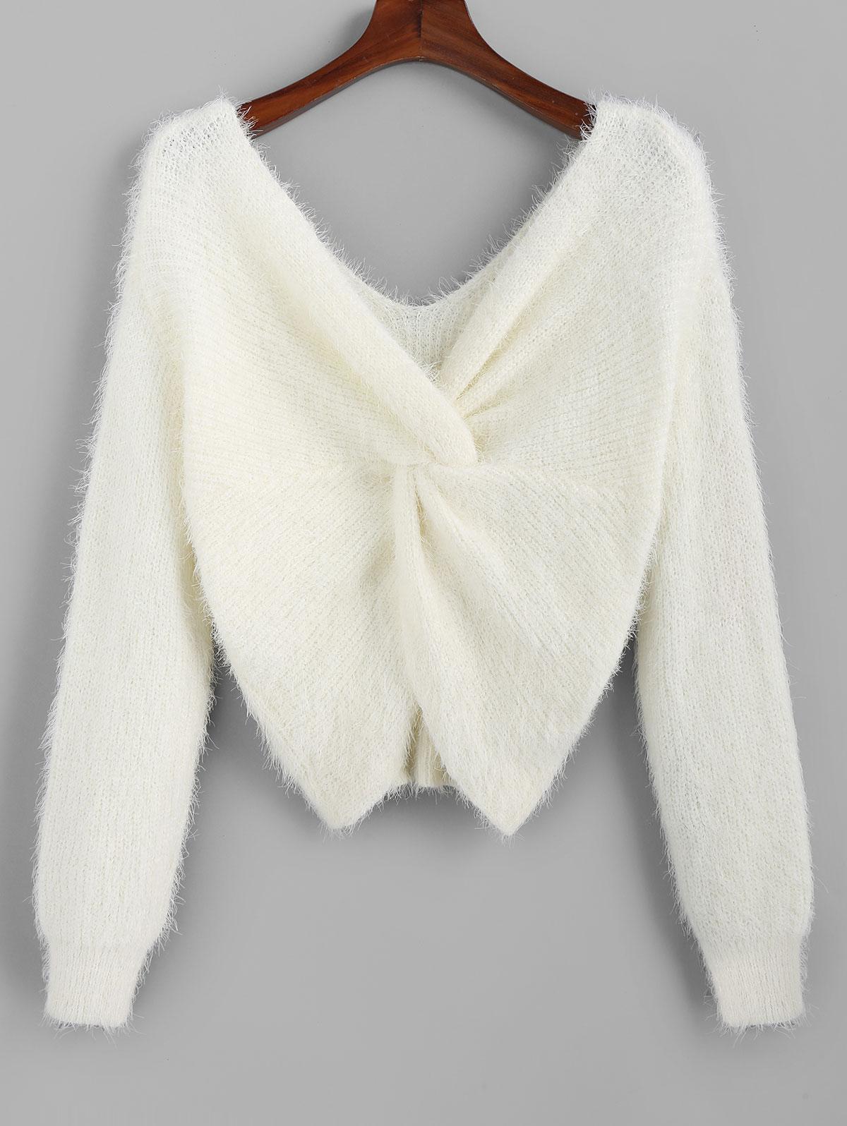 ZAFUL Twisted Plunging Fuzzy Sweater фото