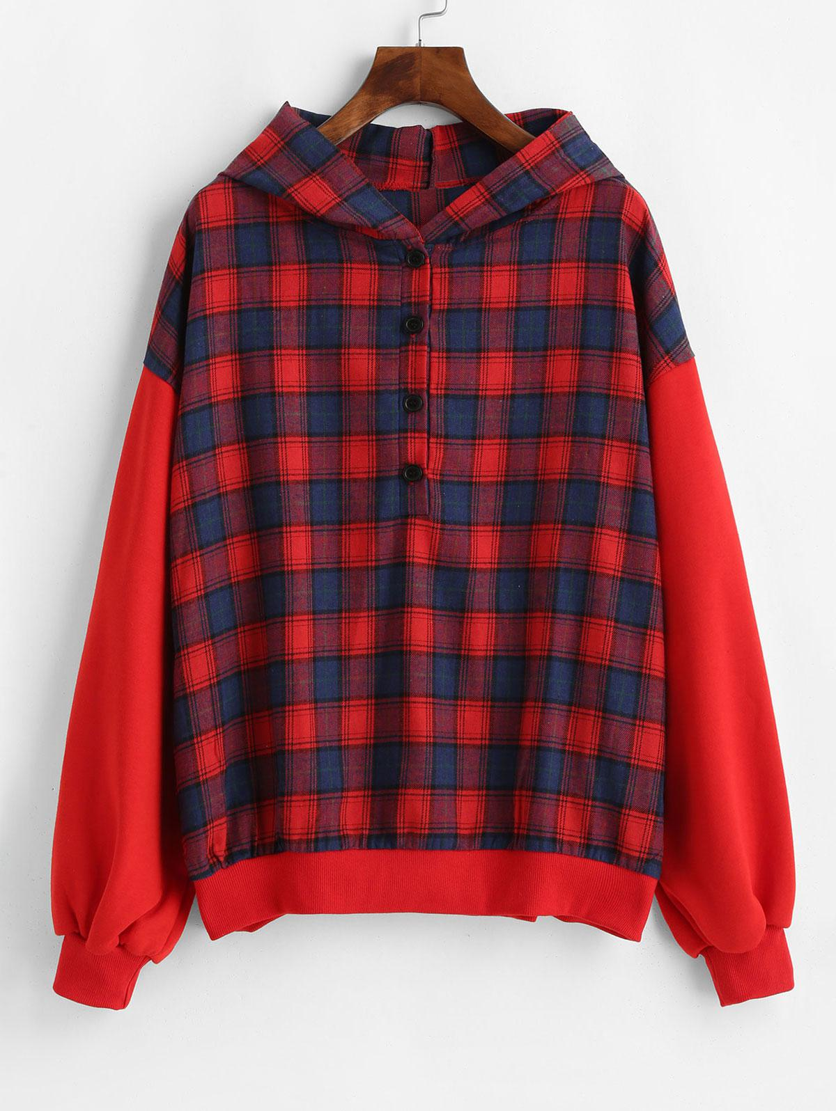 Button Placket Plaid Hoodie