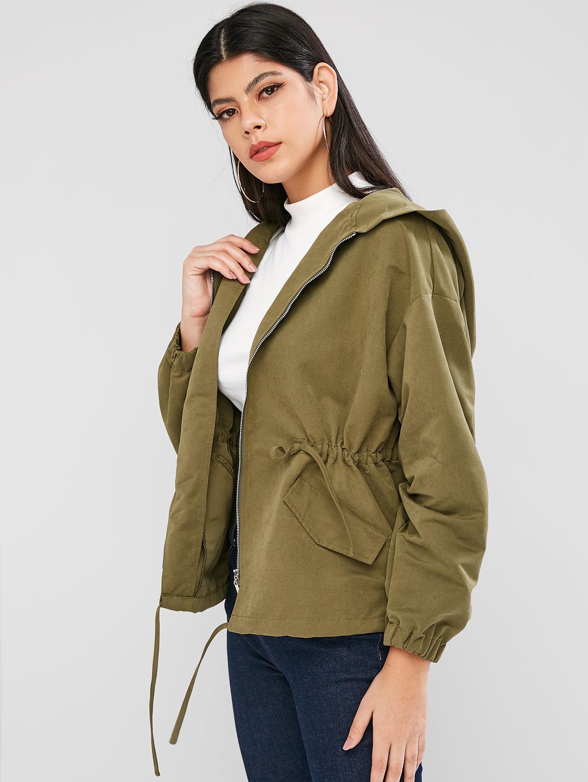 ZAFUL Drawstring Zip Front Flap Pockets Utility Jacket