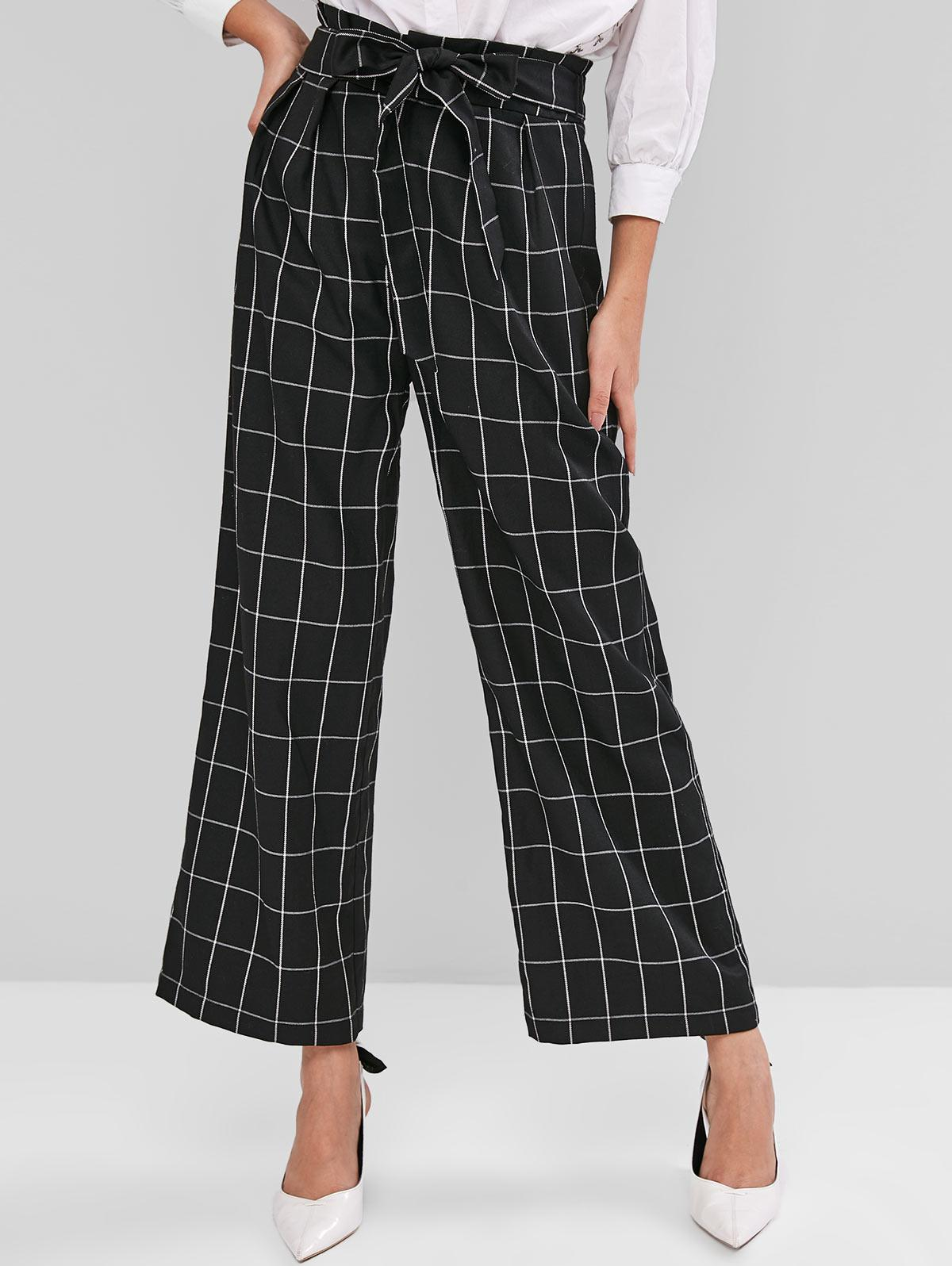 ZAFUL Belted Windowpane Check Wide Leg Pants