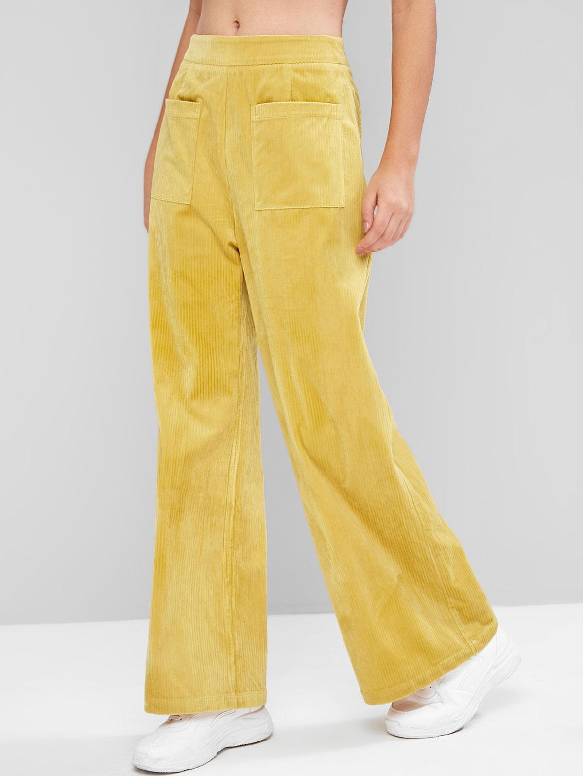 ZAFUL Pockets High Waisted Corduroy Wide Leg Pants