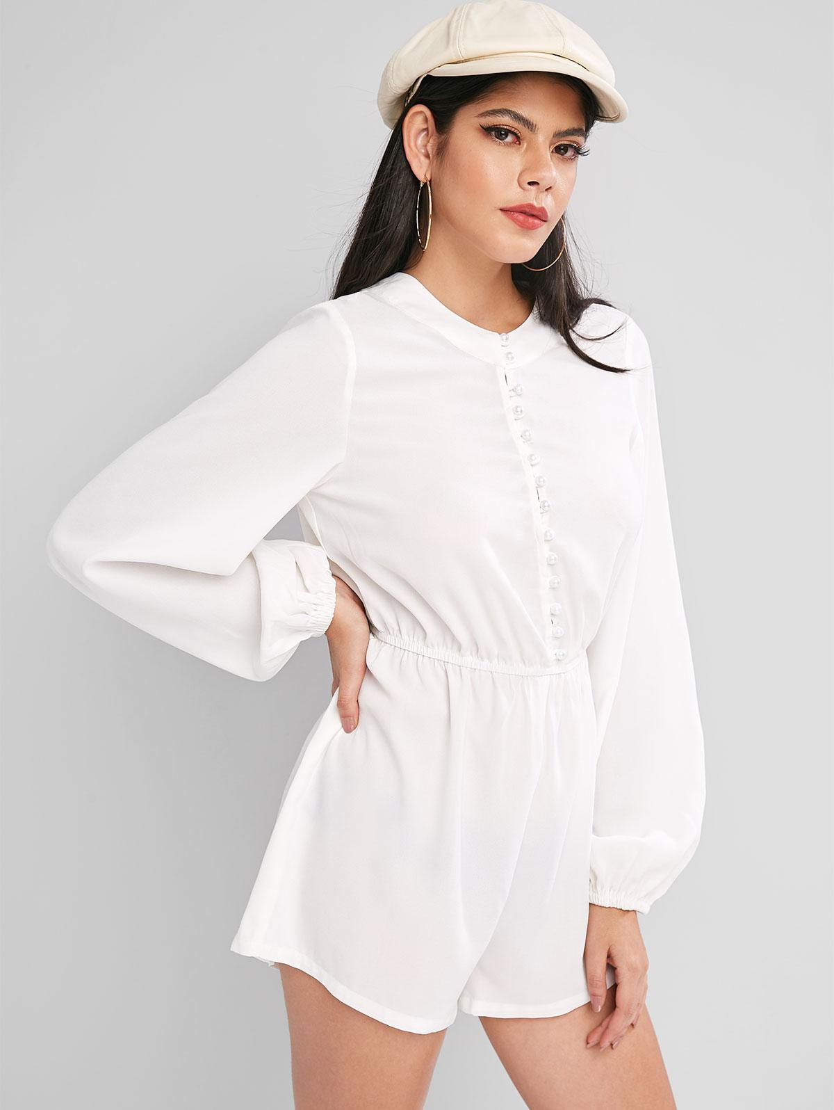 ZAFUL Elastic Waist Long Sleeve Pearly Button Loop Romper