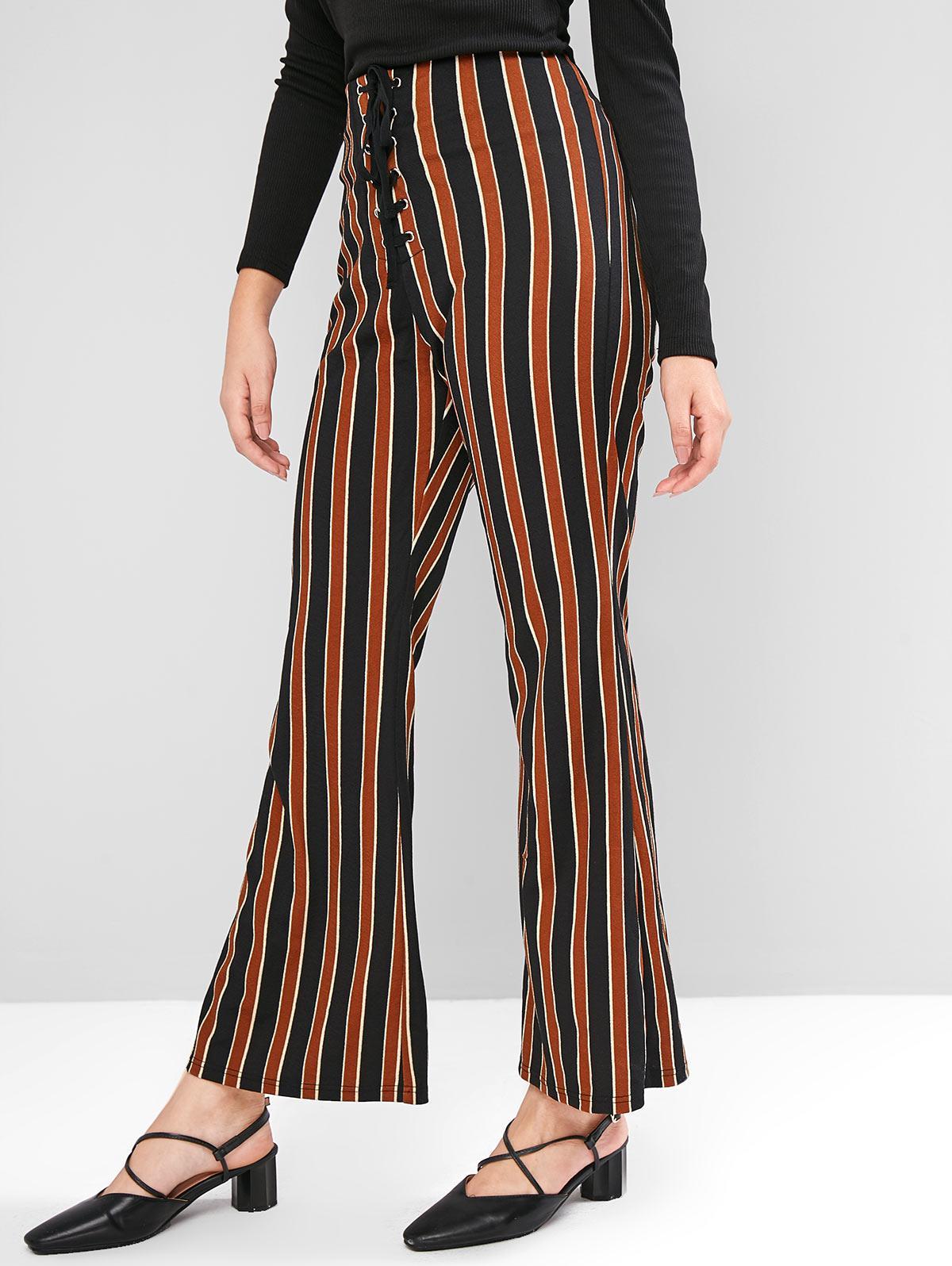 ZAFUL High Waisted Lace Up Stripes Flare Pants