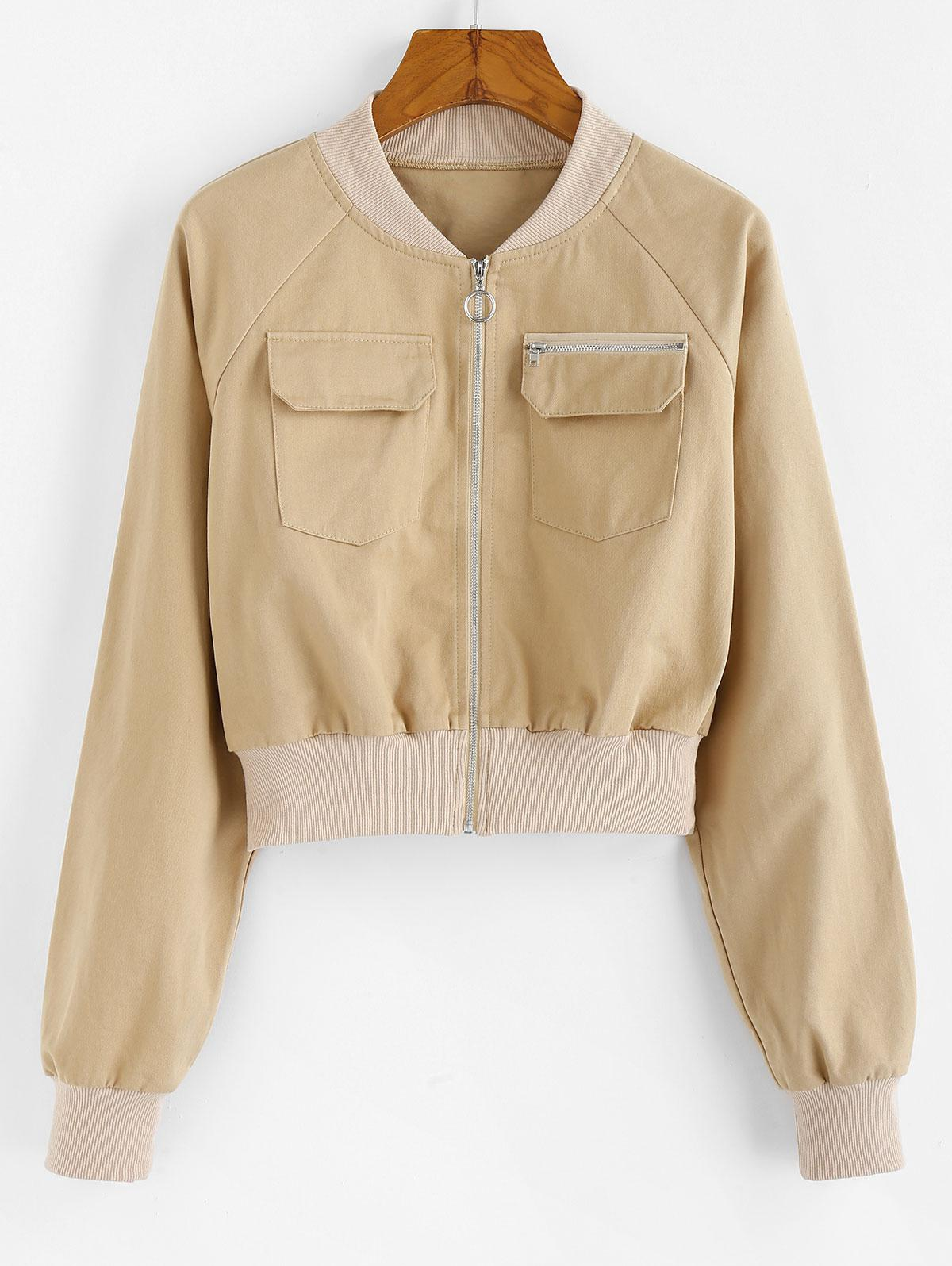 ZAFUL Front Pockets Cropped Jacket