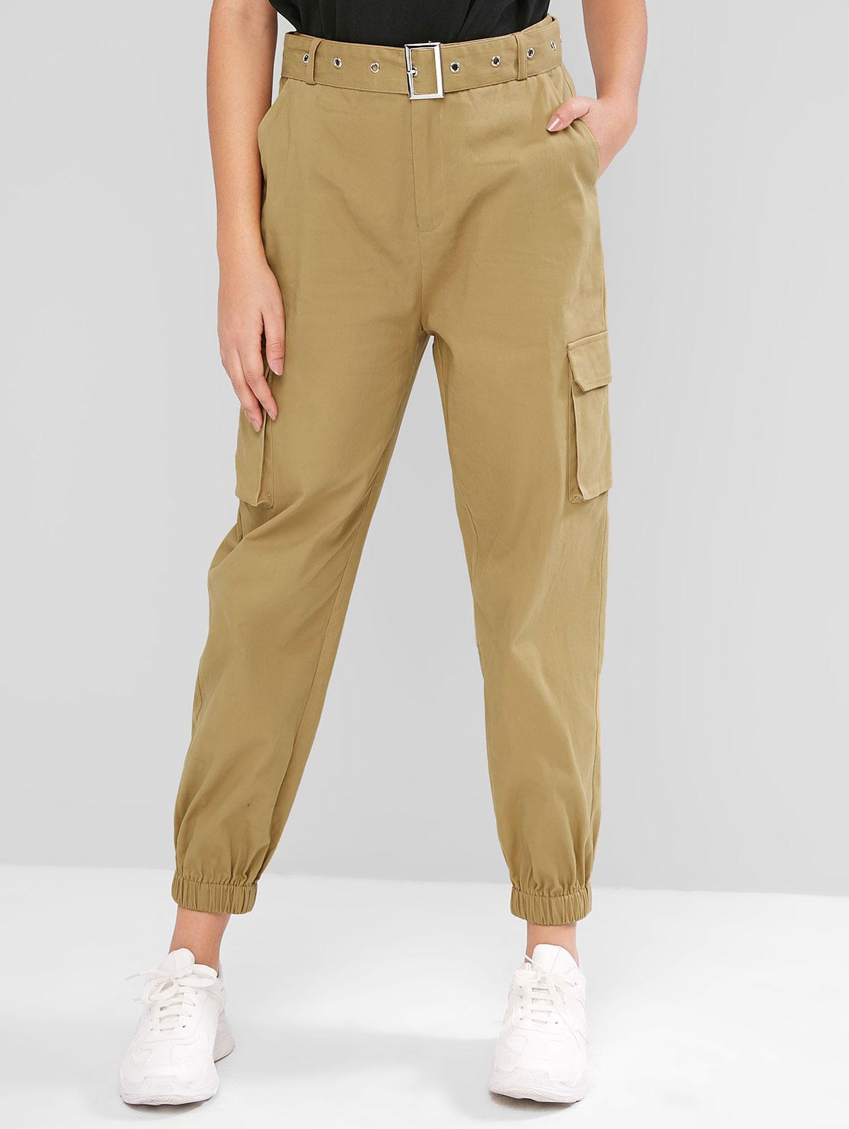 ZAFUL High Waisted Belted Flap Pockets Jogger Pants