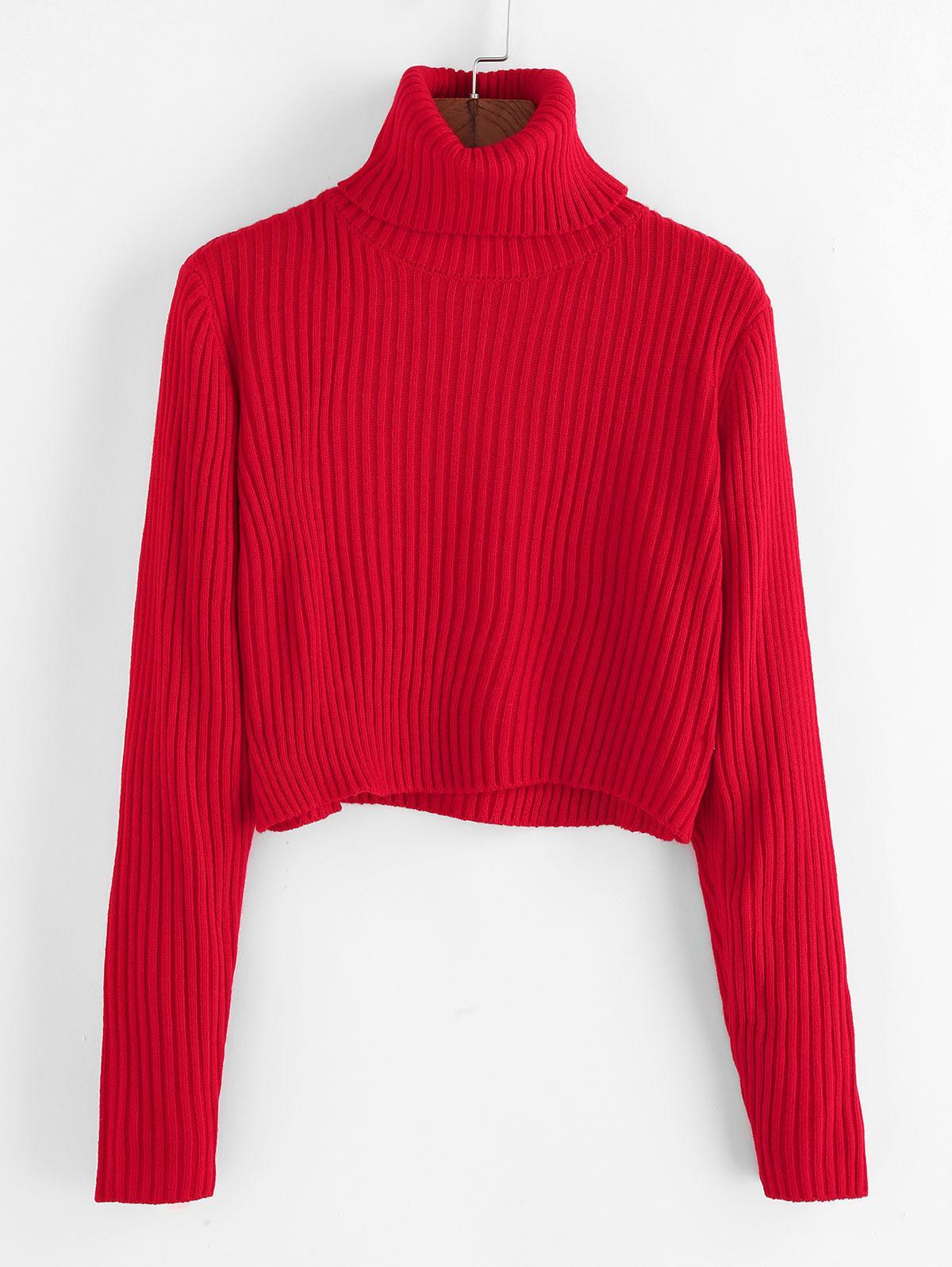 ZAFUL Ribbed Turtleneck Cropped Sweater