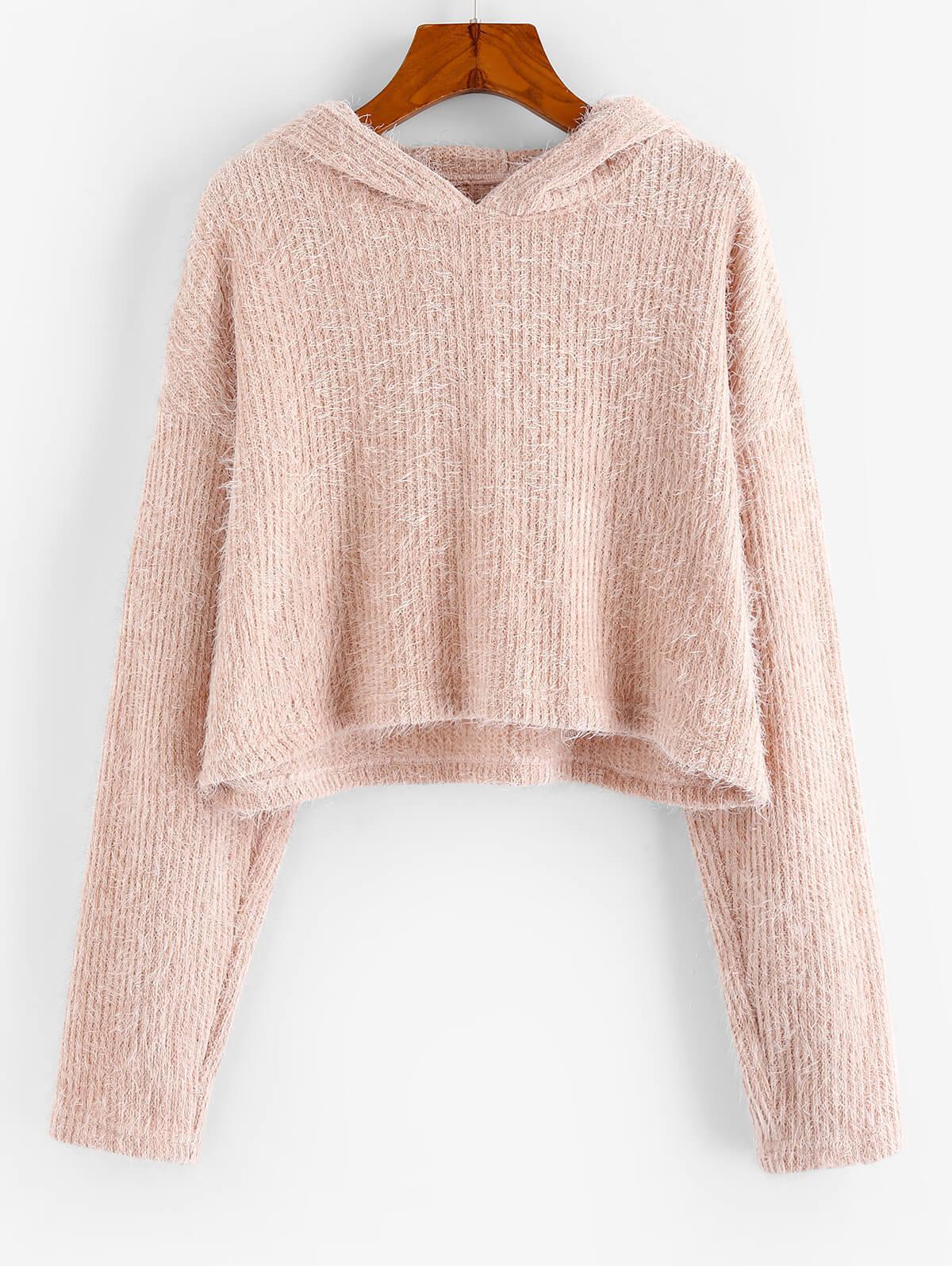ZAFUL Fluffy Hooded Cropped Sweater
