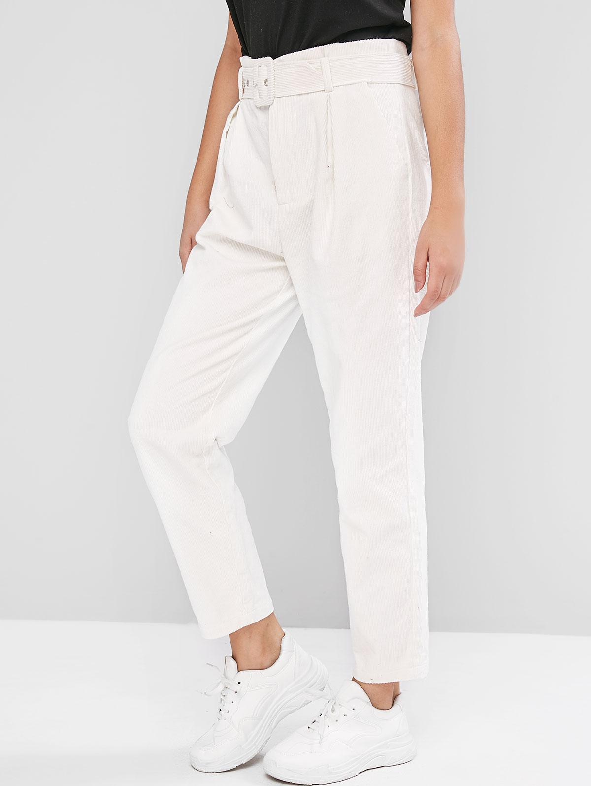 ZAFUL Belted High Waist Solid Corduroy Pants