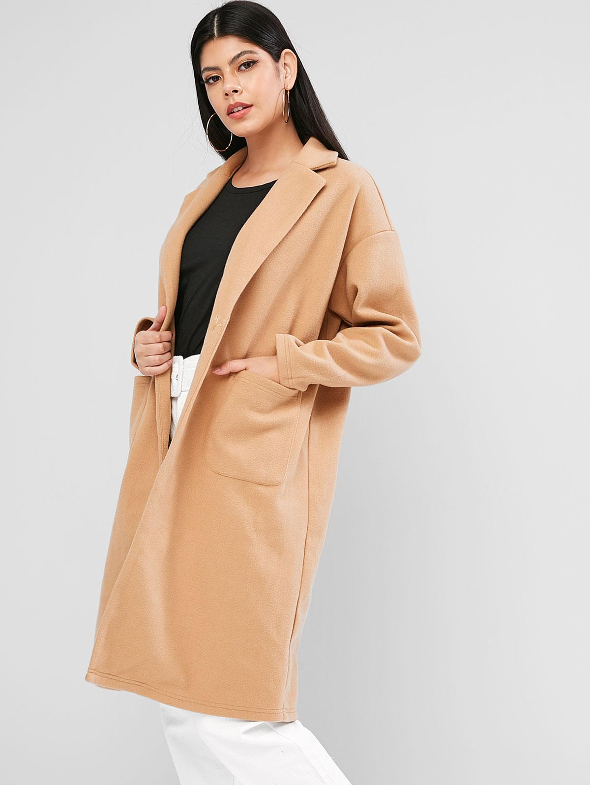 ZAFUL Buttoned Dual Pockets Solid Coat