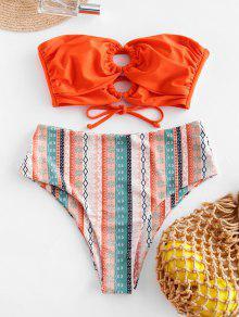 ZAFUL O-حلقة الصليب طباعة السامي قص العصابة ملابس السباحة - البرتقالي S