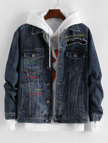 Pocket Design Letter Embroidery Jacket