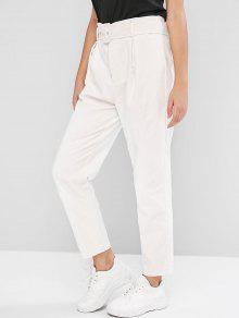 Belted Solid Corduroy Pants