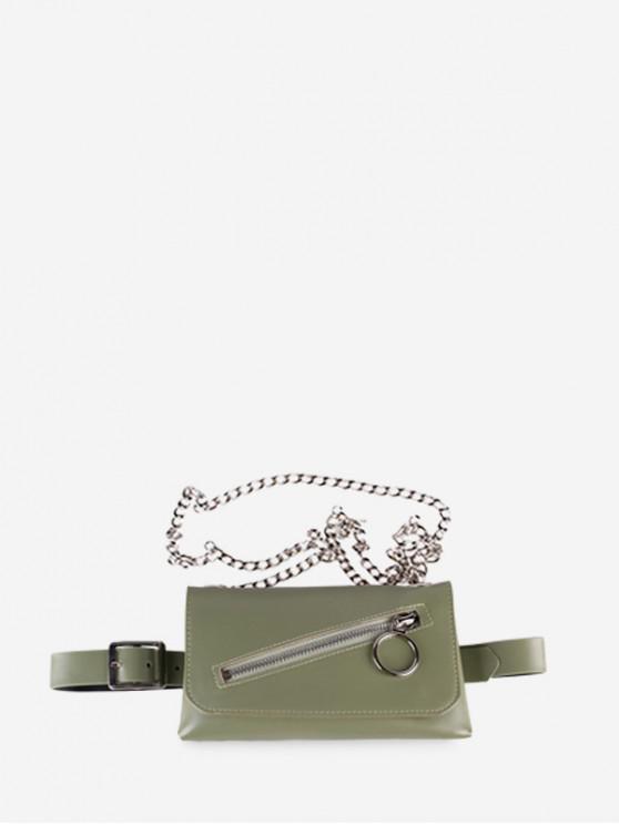 Color sólido de la cremallera de la decoración de la correa del paquete de Fanny - Verde