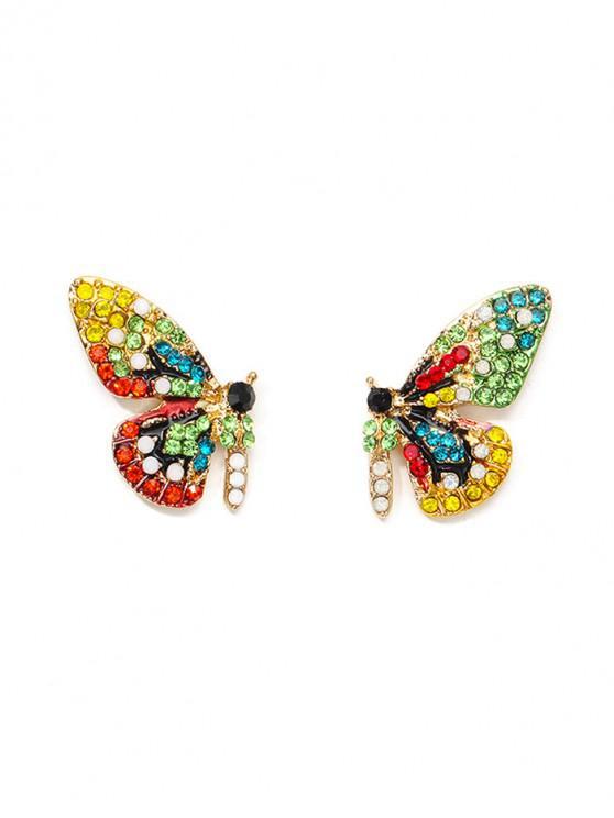 buy Colorful Rhinestone Butterfly Shape Stud Earrings - MULTI
