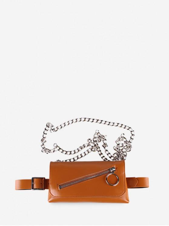 Cinturón de Color Sólido con Cremallera - Camel Marrón