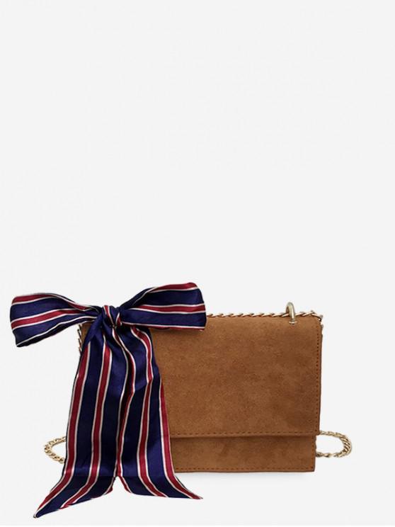 絲帶裝飾鏈條單肩包 - 淺褐色