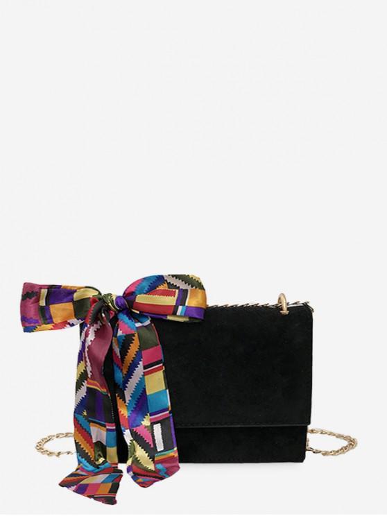絲帶裝飾鏈條單肩包 - 黑色