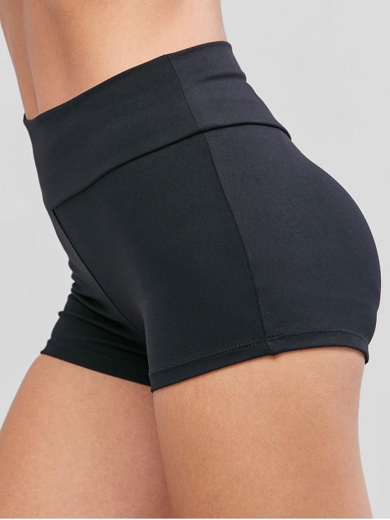 women's Solid Sports Mid Rise Mini Leggings - BLACK S